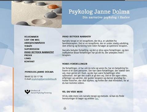 Hjemmeside designet til psykolog Janne Dolma, Faxe