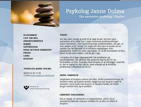 Hjemmeside designet til psykolog Janne Dolma, Faxe.