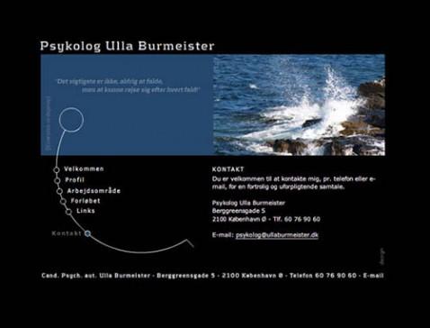 Hjemmeside designet til psykolog Ulla Burmeister, Østerbro, København
