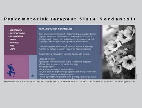 Hjemmeside designet til psykomotorisk terapeut / afspændingspædagog Sisse Nordentoft