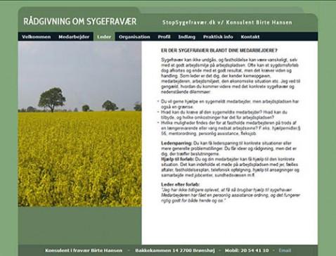Hjemmeside designet til Stop Sygefravær