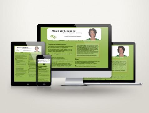 Hjemmeside designet til psykoterapeut og coach Nanja Sindballe