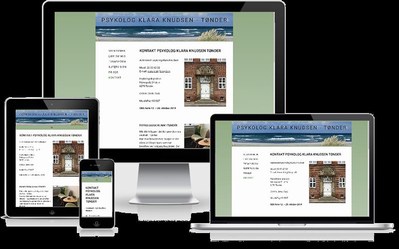 Hjemmeside designet til psykolog Klara Knudsen - Tønder