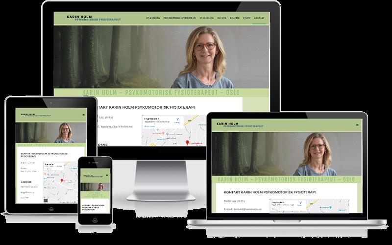 Hjemmeside designet til psykomotorisk fysioterapeut - Karin Holm - Oslo Norge