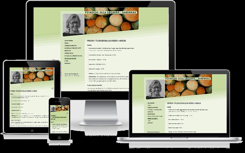 Hjemmeside designet til psykolog Ulla Søgaard Aabenraa